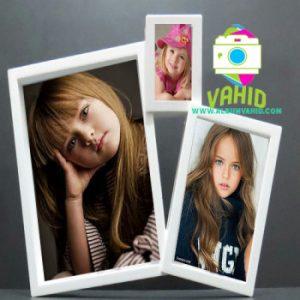 قاب عکس سفید 3 عکس خانواده